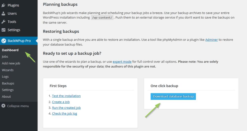 como restaurar una copia de seguridad de backwpup
