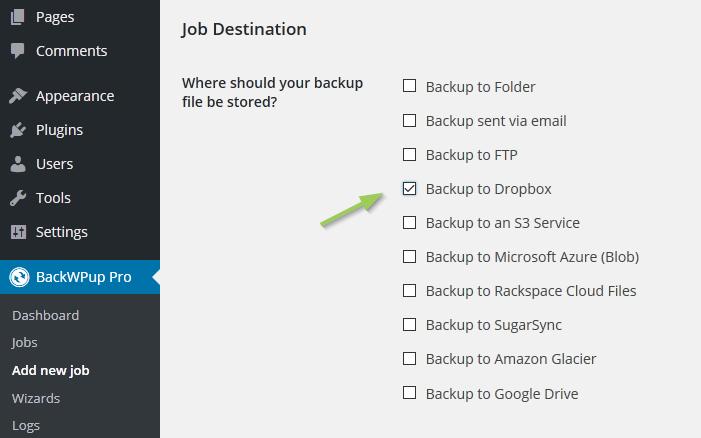 como configurar backwpup en dropbox