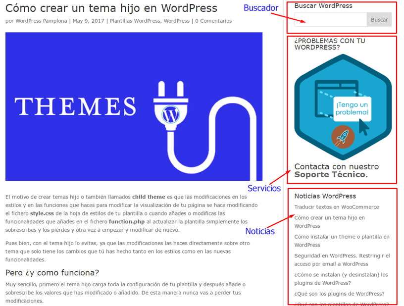 Zonas de los Widgets en WordPress