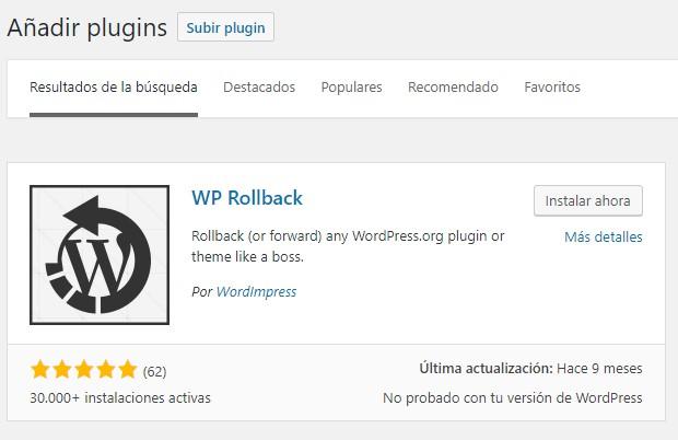 Plugin WP-RollBack para volver a una versión anterior de un plugin